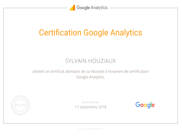 Google Analytics Sylvain Houziaux